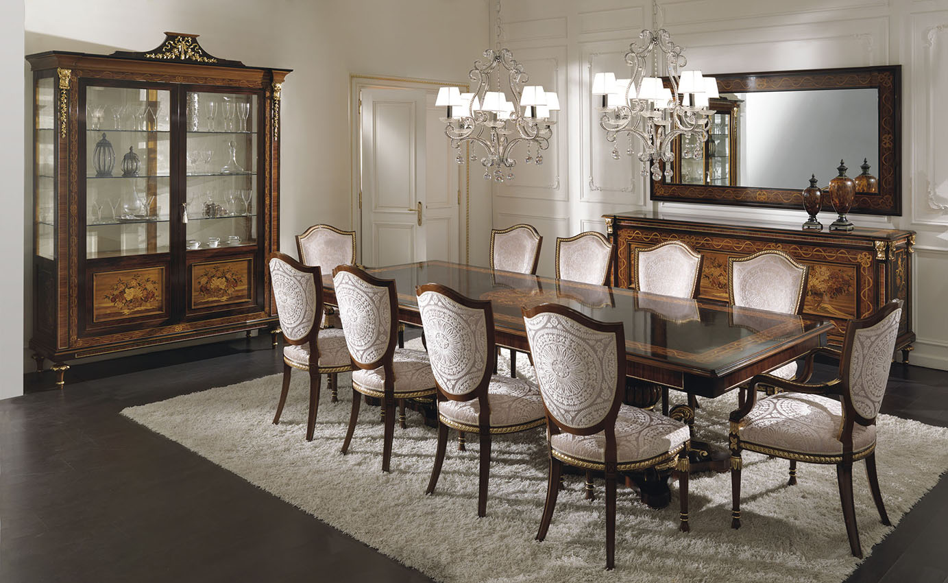 Italian luxury dining room furniture art design group for Dining room furnishings